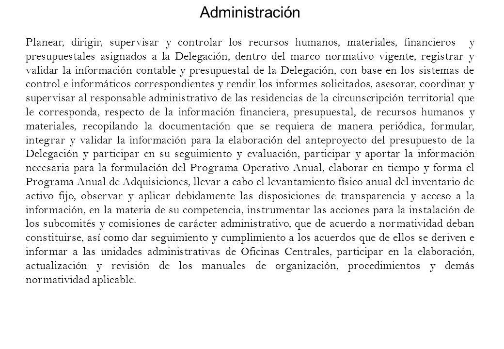 Administración Planear, dirigir, supervisar y controlar los recursos humanos, materiales, financieros y presupuestales asignados a la Delegación, dent