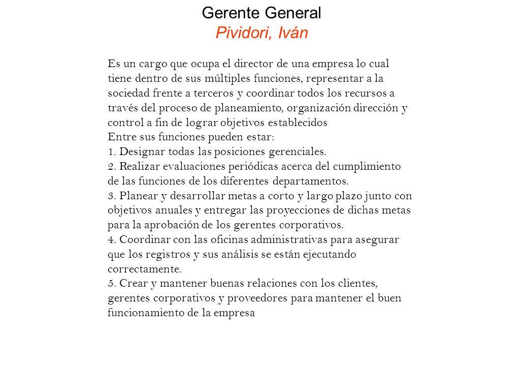 Gerente General Pividori, Iván Es un cargo que ocupa el director de una empresa lo cual tiene dentro de sus múltiples funciones, representar a la soci