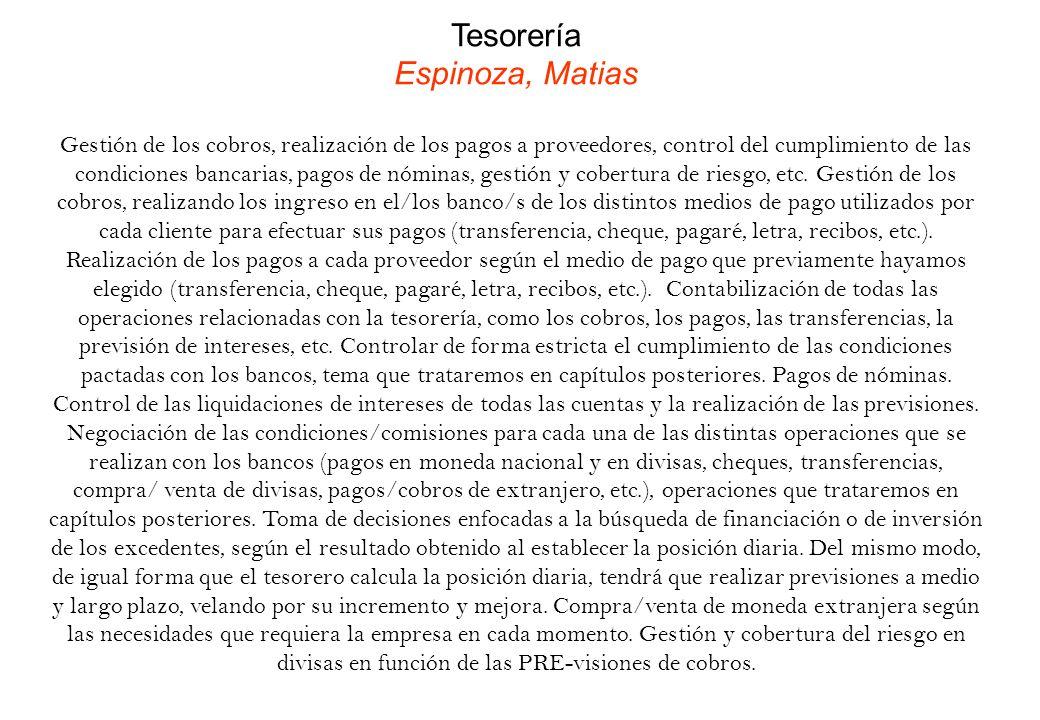 Tesorería Espinoza, Matias Gestión de los cobros, realización de los pagos a proveedores, control del cumplimiento de las condiciones bancarias, pagos