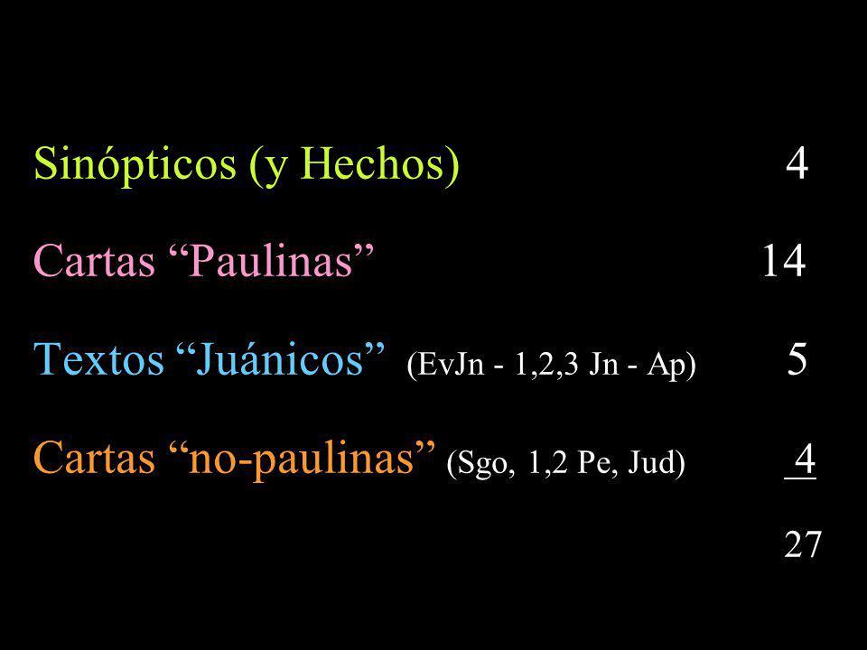 También podría hablarse de corrientes: Sinóptica Paulina Juánica Judeocristiana (Mateo, Santiago, 2 Pedro, Judas + Apocalipsis y 1,2,3 Juan)