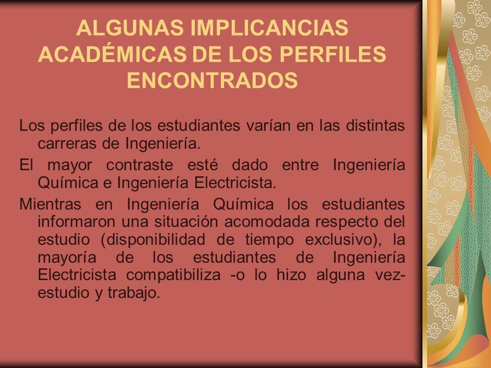 ALGUNAS IMPLICANCIAS ACADÉMICAS DE LOS PERFILES ENCONTRADOS Los perfiles de los estudiantes varían en las distintas carreras de Ingeniería.