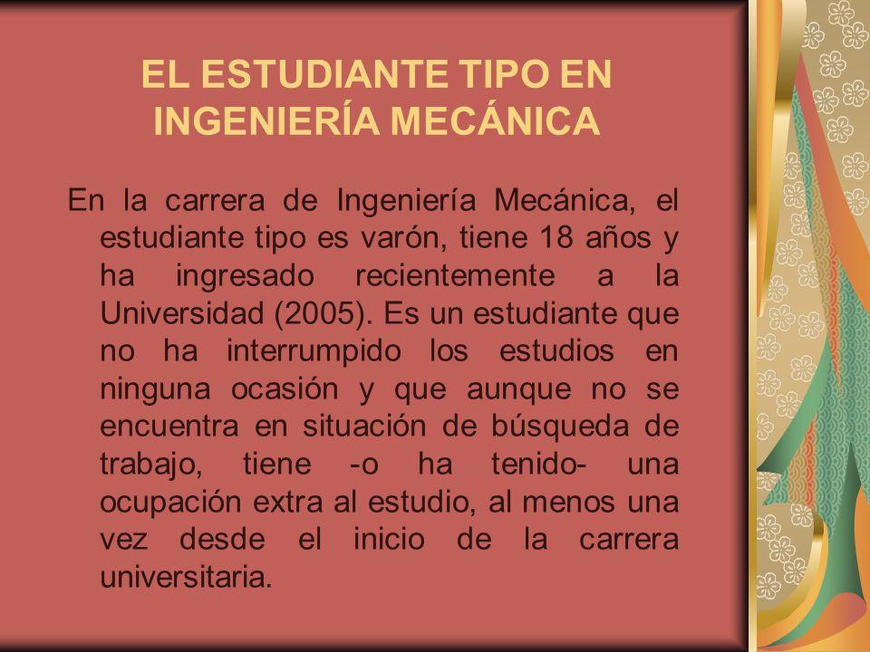 EL ESTUDIANTE TIPO EN INGENIERÍA MECÁNICA En la carrera de Ingeniería Mecánica, el estudiante tipo es varón, tiene 18 años y ha ingresado recientemente a la Universidad (2005).