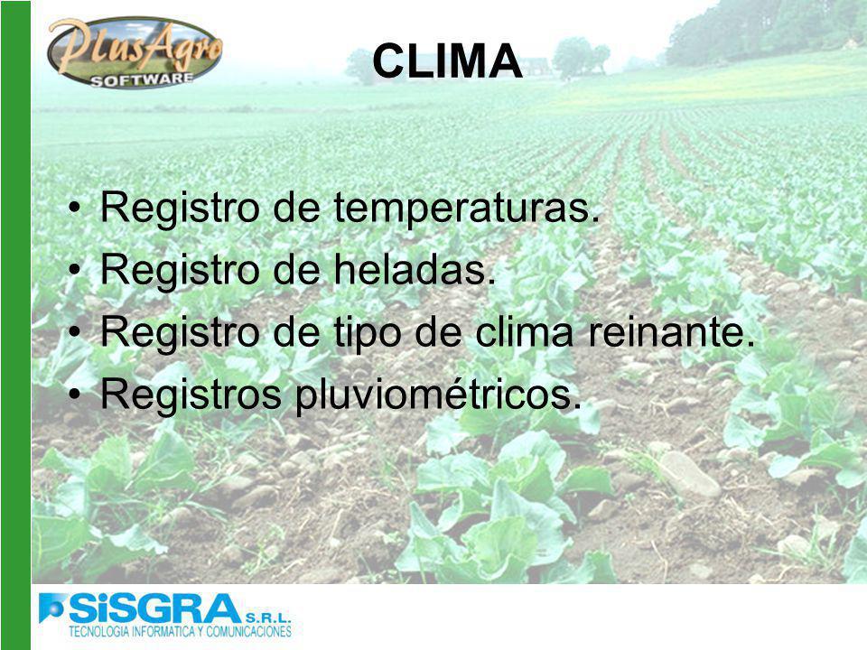 CLIMA Registro de temperaturas.Registro de heladas.