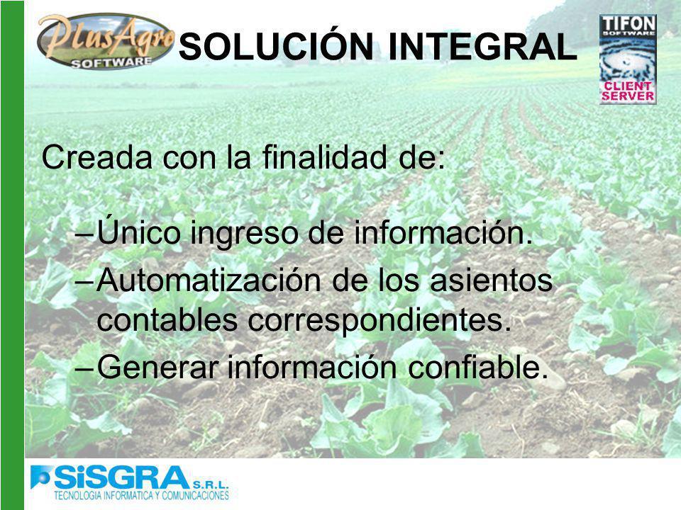 SOLUCIÓN INTEGRAL Creada con la finalidad de: –Único ingreso de información.