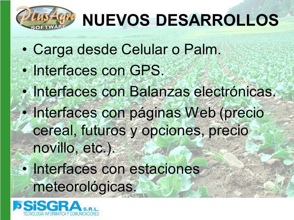 NUEVOS DESARROLLOS Carga desde Celular o Palm.Interfaces con GPS.