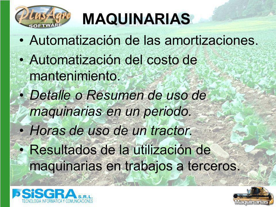 MAQUINARIAS Automatización de las amortizaciones.Automatización del costo de mantenimiento.