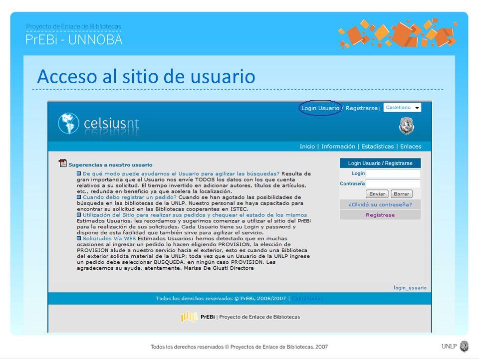 Acceso al sitio de usuario
