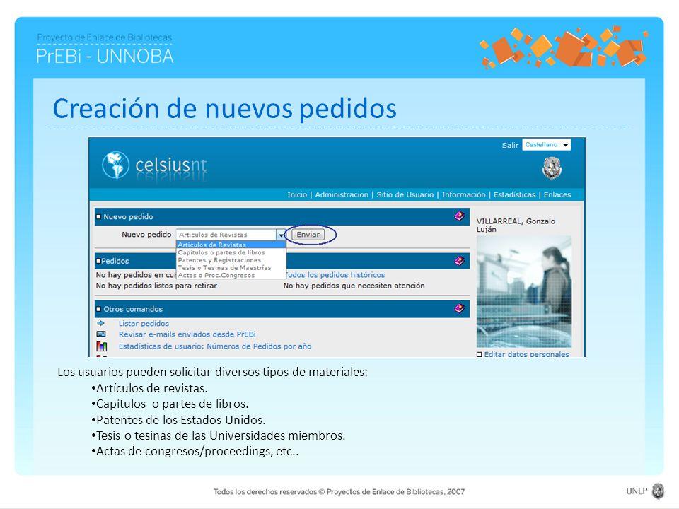 Creación de nuevos pedidos Los usuarios pueden solicitar diversos tipos de materiales: Artículos de revistas. Capítulos o partes de libros. Patentes d