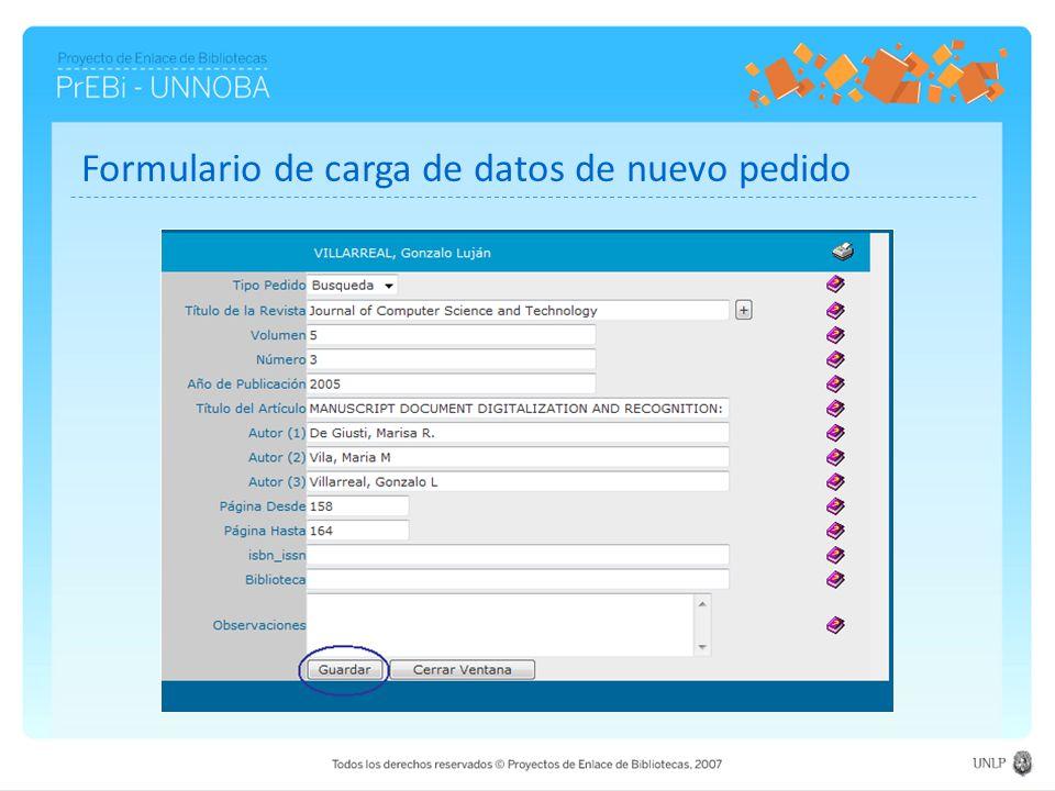 Formulario de carga de datos de nuevo pedido