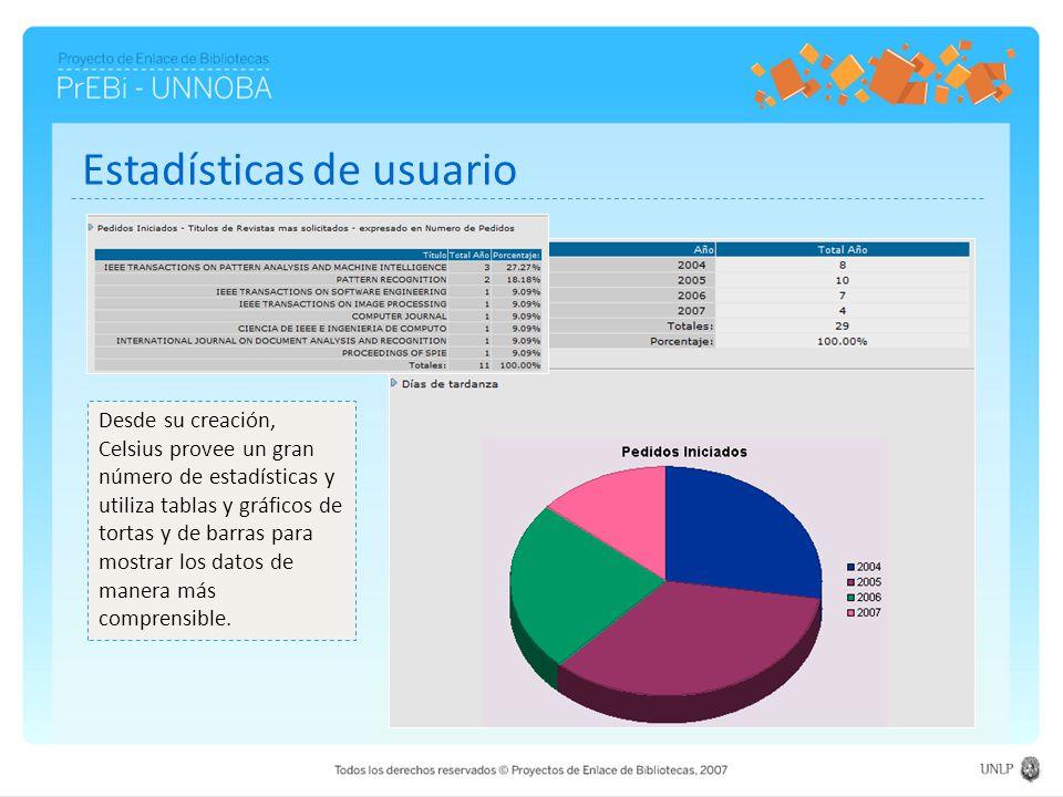 Estadísticas de usuario Desde su creación, Celsius provee un gran número de estadísticas y utiliza tablas y gráficos de tortas y de barras para mostra