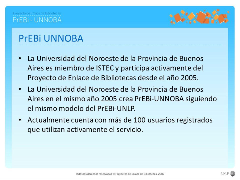 PrEBi UNNOBA La Universidad del Noroeste de la Provincia de Buenos Aires es miembro de ISTEC y participa activamente del Proyecto de Enlace de Bibliot