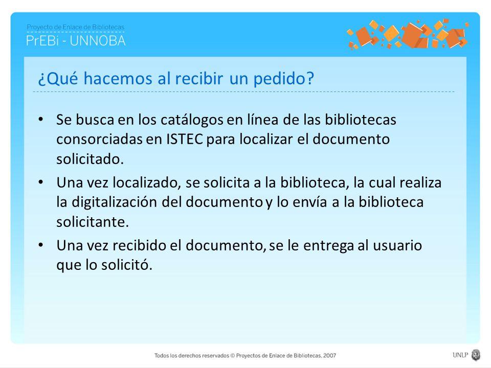 ¿Qué hacemos al recibir un pedido? Se busca en los catálogos en línea de las bibliotecas consorciadas en ISTEC para localizar el documento solicitado.
