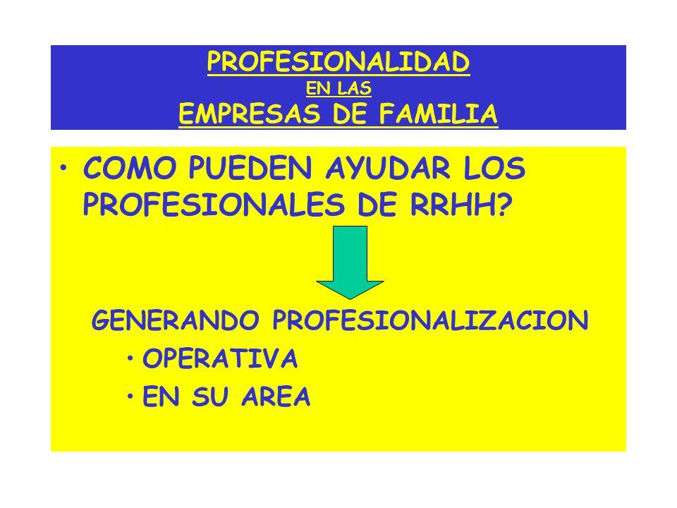 PROFESIONALIDAD EN LAS EMPRESAS DE FAMILIA COMO PUEDEN AYUDAR LOS PROFESIONALES DE RRHH? GENERANDO PROFESIONALIZACION OPERATIVA EN SU AREA