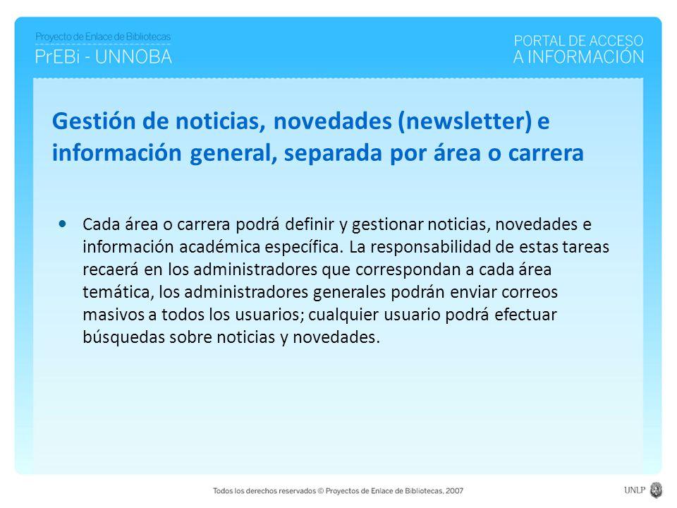 Cada área o carrera podrá definir y gestionar noticias, novedades e información académica específica.