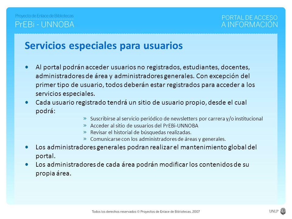 Al portal podrán acceder usuarios no registrados, estudiantes, docentes, administradores de área y administradores generales.