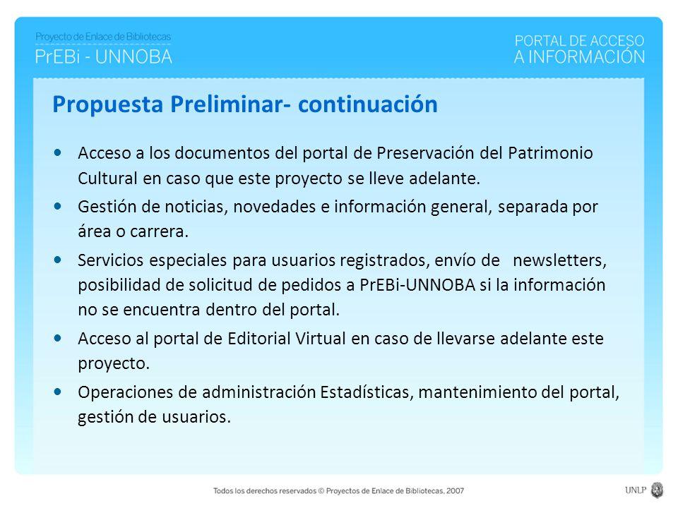 Propuesta Preliminar- continuación Acceso a los documentos del portal de Preservación del Patrimonio Cultural en caso que este proyecto se lleve adelante.