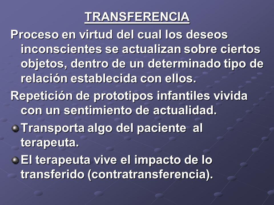 TRANSFERENCIA Proceso en virtud del cual los deseos inconscientes se actualizan sobre ciertos objetos, dentro de un determinado tipo de relación estab