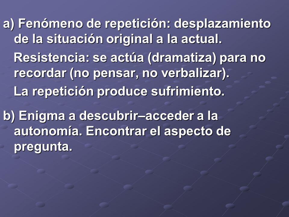 a) Fenómeno de repetición: desplazamiento de la situación original a la actual. Resistencia: se actúa (dramatiza) para no recordar (no pensar, no verb
