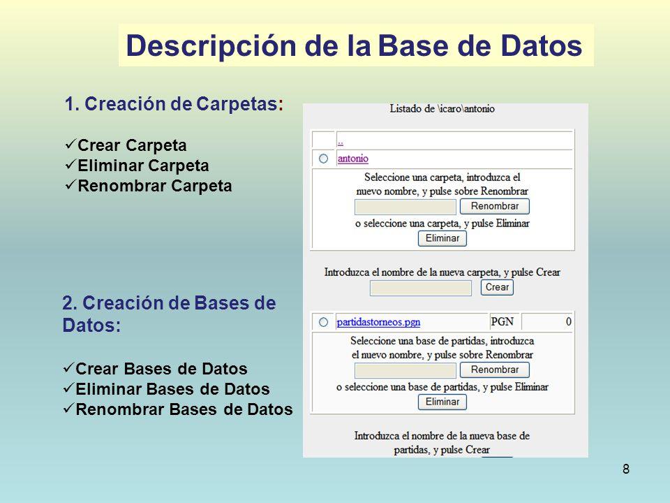 8 1. Creación de Carpetas: Crear Carpeta Eliminar Carpeta Renombrar Carpeta 2. Creación de Bases de Datos: Crear Bases de Datos Eliminar Bases de Dato
