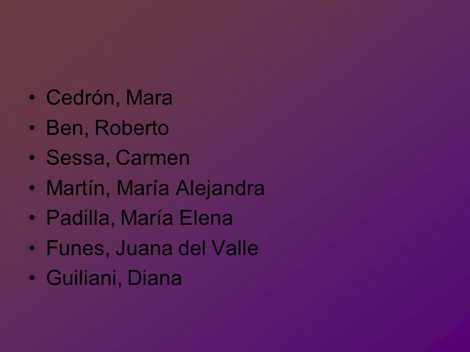 Cedrón, Mara Ben, Roberto Sessa, Carmen Martín, María Alejandra Padilla, María Elena Funes, Juana del Valle Guiliani, Diana