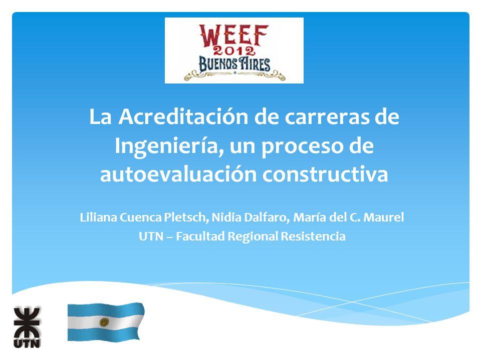 La Acreditación de carreras de Ingeniería, un proceso de autoevaluación constructiva Liliana Cuenca Pletsch, Nidia Dalfaro, María del C.