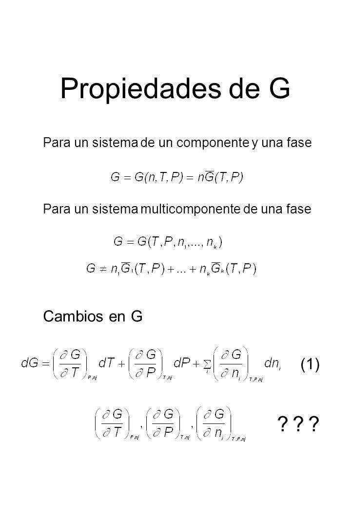 Propiedades de G Para un sistema de un componente y una fase Para un sistema multicomponente de una fase Cambios en G ??? (1)