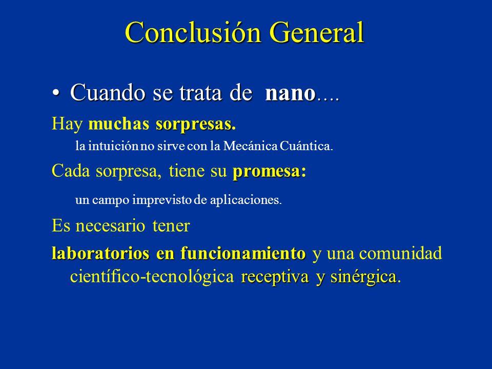 Conclusión General Cuando se trata de nano ….Cuando se trata de nano ….