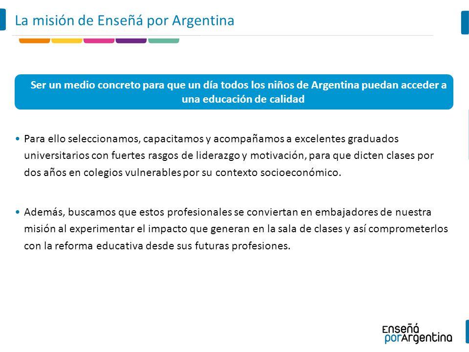 Ser un medio concreto para que un día todos los niños de Argentina puedan acceder a una educación de calidad La misión de Enseñá por Argentina Para el