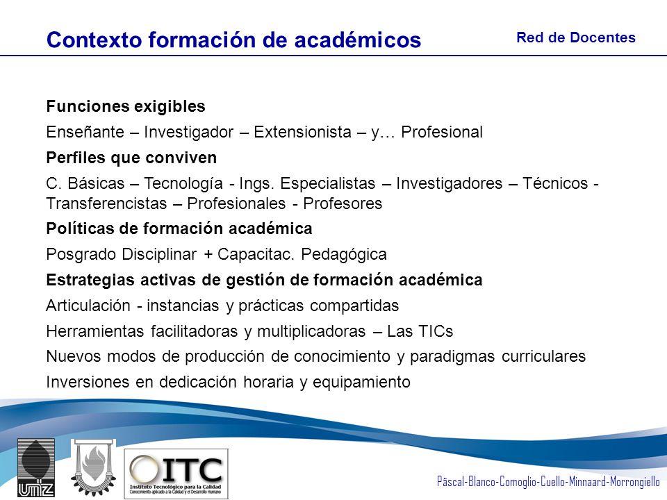 Päscal-Blanco-Comoglio-Cuello-Minnaard-Morrongiello Funciones exigibles Enseñante – Investigador – Extensionista – y… Profesional Perfiles que conviven C.