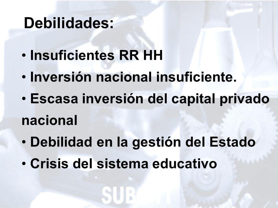10 Debilidades: Insuficientes RR HH Inversión nacional insuficiente.