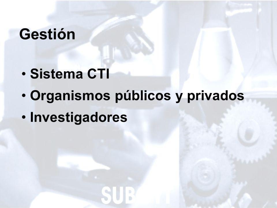 4 Gestión Sistema CTI Organismos públicos y privados Investigadores