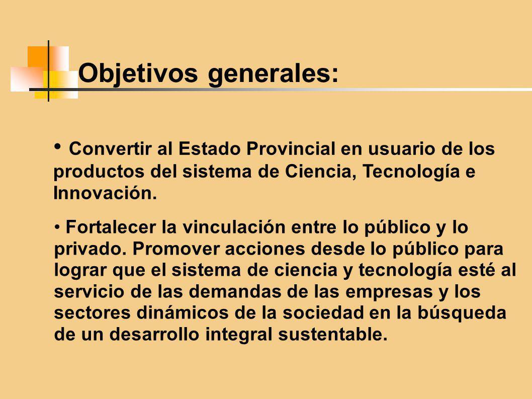 Objetivos generales: Convertir al Estado Provincial en usuario de los productos del sistema de Ciencia, Tecnología e Innovación. Fortalecer la vincula