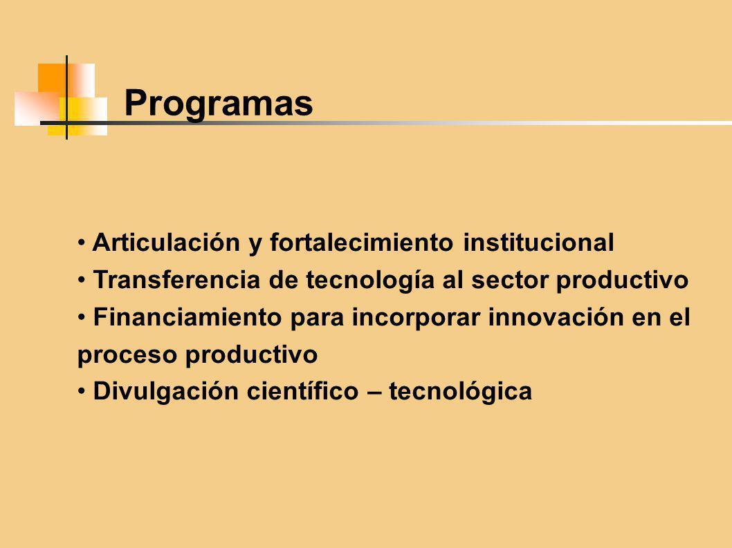 Programas Articulación y fortalecimiento institucional Transferencia de tecnología al sector productivo Financiamiento para incorporar innovación en el proceso productivo Divulgación científico – tecnológica