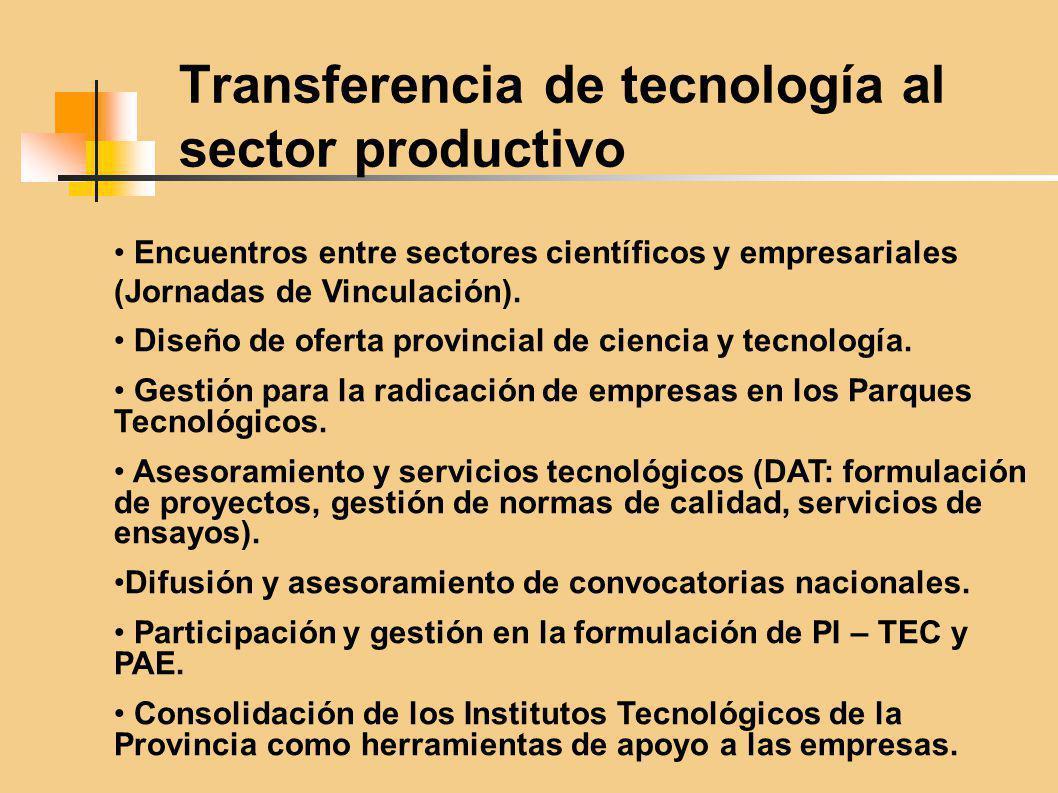 Transferencia de tecnología al sector productivo Encuentros entre sectores científicos y empresariales (Jornadas de Vinculación).