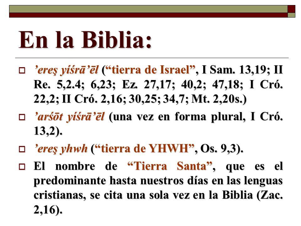 En la Biblia: ereş yíśrāēl (tierra de Israel, I Sam. 13,19; II Re. 5,2.4; 6,23; Ez. 27,17; 40,2; 47,18; I Cró. 22,2; II Cró. 2,16; 30,25; 34,7; Mt. 2,