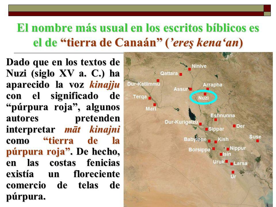 El nombre más usual en los escritos bíblicos es el de tierra de Canaán (ereş kenaan) Dado que en los textos de Nuzi (siglo XV a. C.) ha aparecido la v
