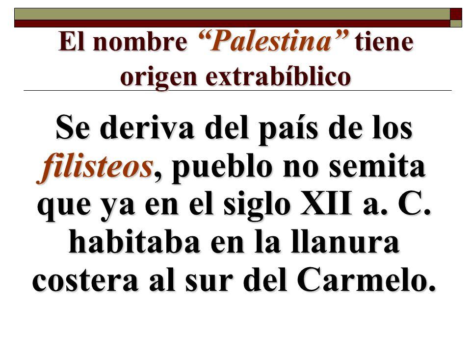 El nombre Palestina tiene origen extrabíblico Se deriva del país de los filisteos, pueblo no semita que ya en el siglo XII a. C. habitaba en la llanur