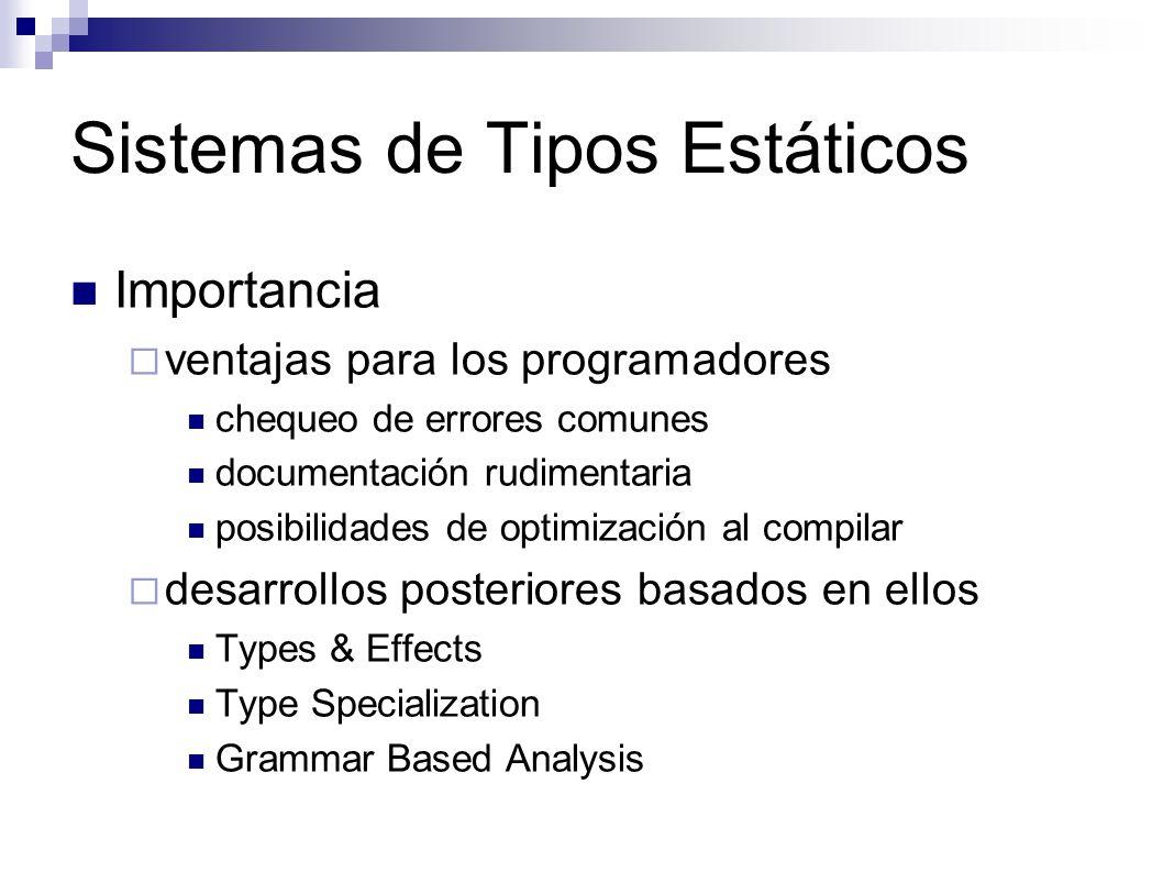 Sistemas de Tipos Estáticos Importancia ventajas para los programadores chequeo de errores comunes documentación rudimentaria posibilidades de optimiz