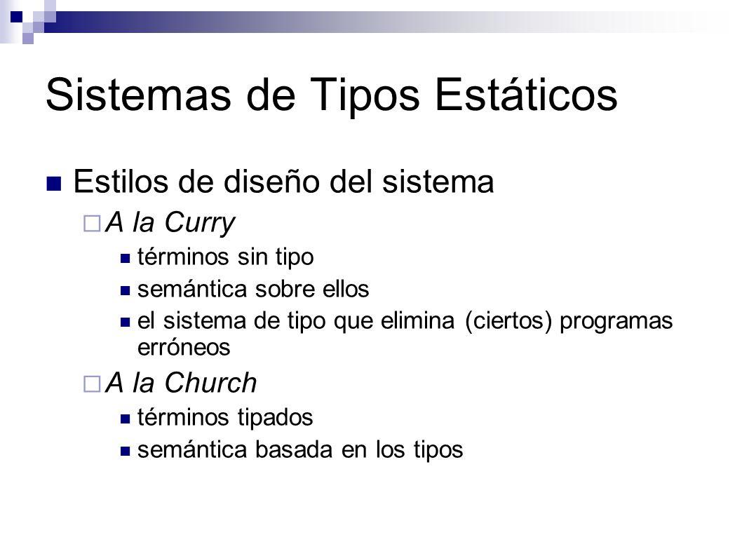 Sistemas de Tipos Estáticos Estilos de diseño del sistema A la Curry términos sin tipo semántica sobre ellos el sistema de tipo que elimina (ciertos)