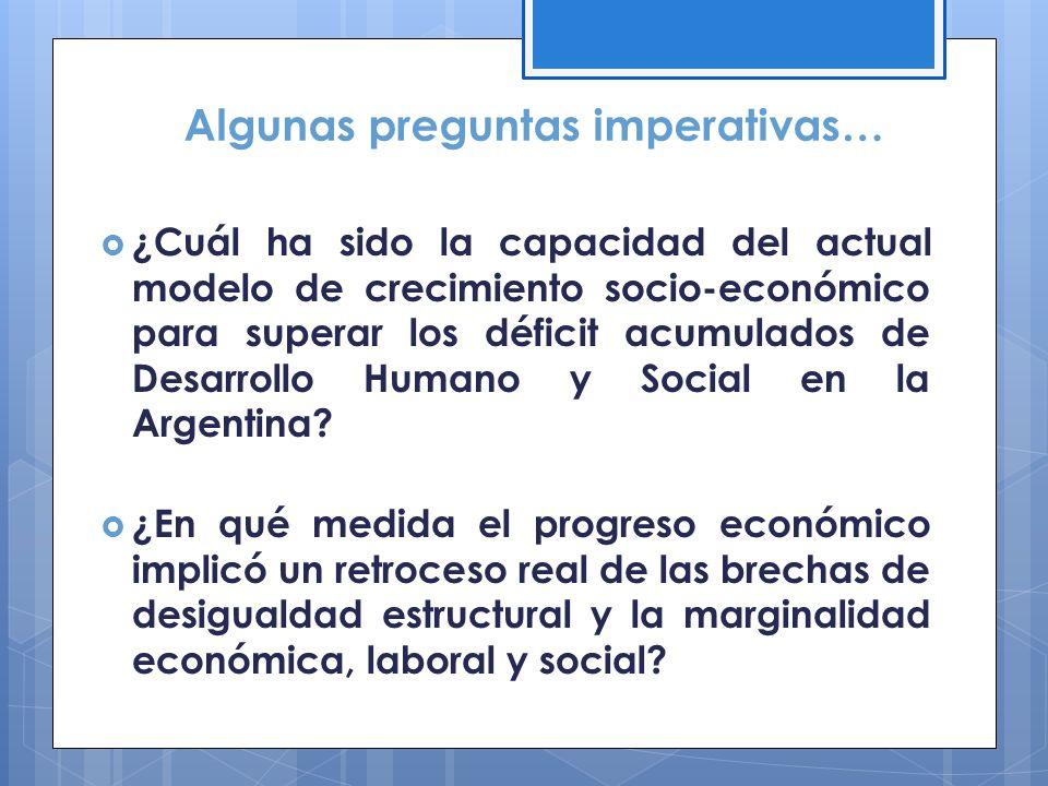Algunas preguntas imperativas… ¿Cuál ha sido la capacidad del actual modelo de crecimiento socio-económico para superar los déficit acumulados de Desa
