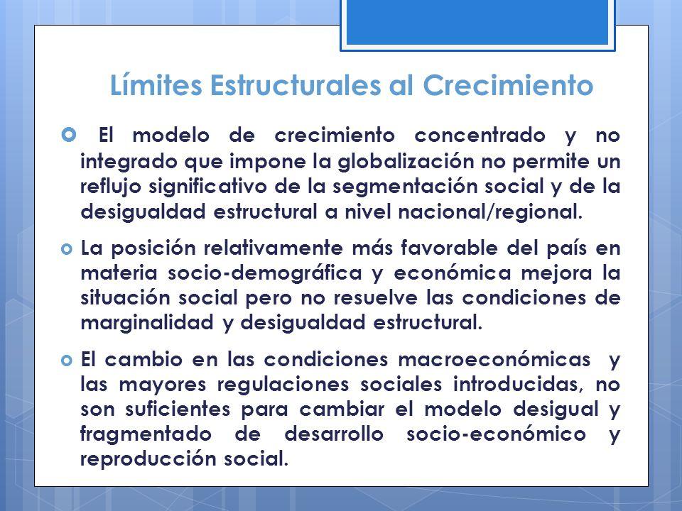 El modelo de crecimiento concentrado y no integrado que impone la globalización no permite un reflujo significativo de la segmentación social y de la