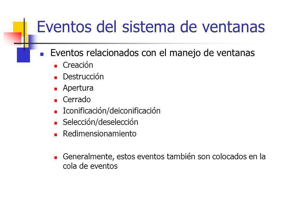 Eventos del sistema de ventanas Eventos relacionados con el manejo de ventanas Creación Destrucción Apertura Cerrado Iconificación/deiconificación Sel