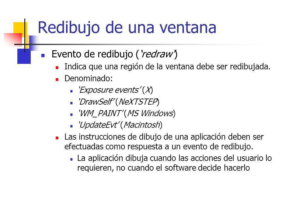 Redibujo de una ventana Evento de redibujo (redraw) Indica que una región de la ventana debe ser redibujada. Denominado: Exposure events (X) DrawSelf