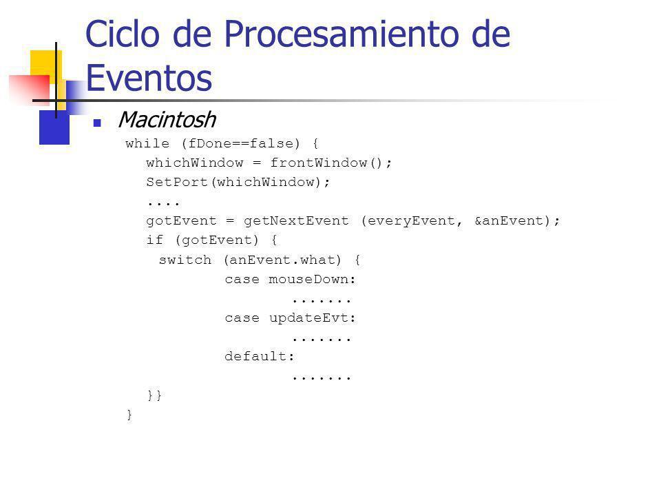 Ciclo de Procesamiento de Eventos Macintosh while (fDone==false) { whichWindow = frontWindow(); SetPort(whichWindow);.... gotEvent = getNextEvent (eve
