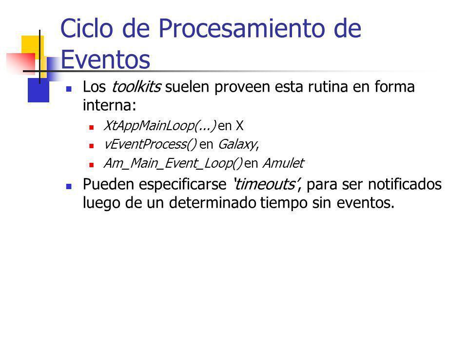 Ciclo de Procesamiento de Eventos Los toolkits suelen proveen esta rutina en forma interna: XtAppMainLoop(...) en X vEventProcess() en Galaxy, Am_Main