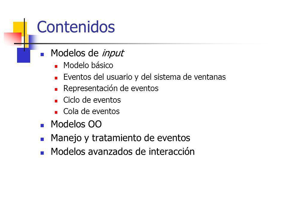Modelos de Input Administración de los eventos producidos por el usuario utilizando los dispositivos de entrada Interacciones básicas Posicionamiento Especificación de una coordenada (x,y) Selección Eleccion de un elemento en un conjunto Cuantificación Especificación de algún valor numérico Ingreso de Texto Presentación InputOutput Comandos WM WS Input