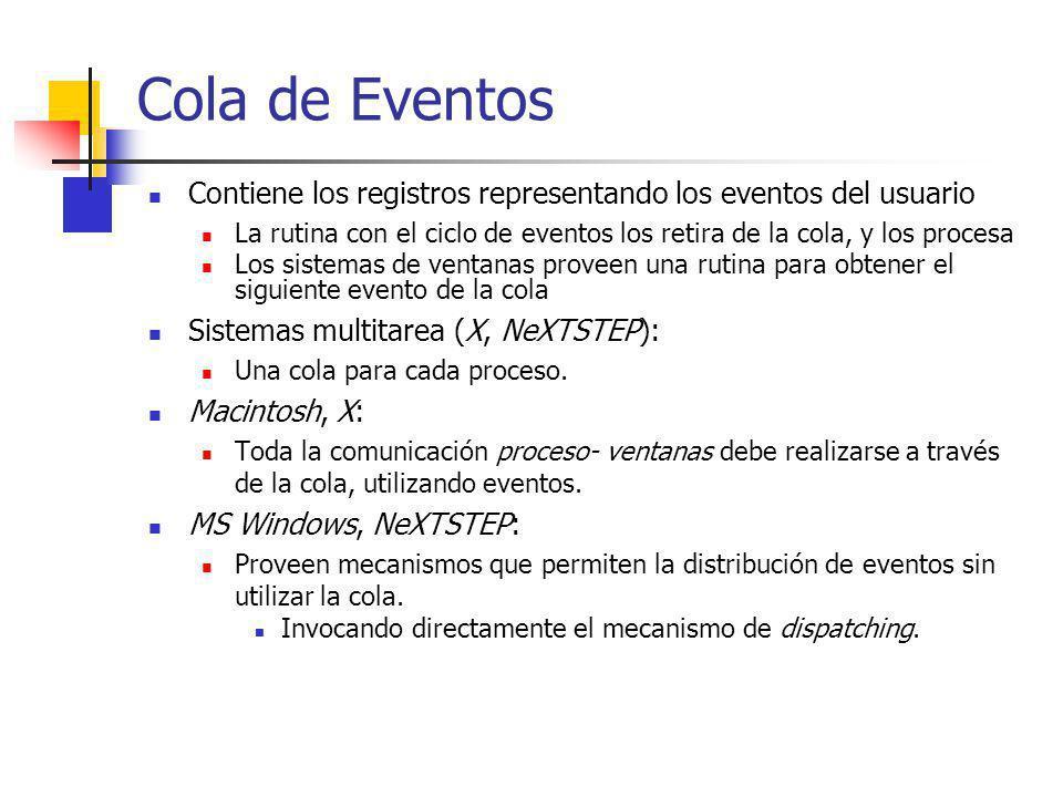 Cola de Eventos Contiene los registros representando los eventos del usuario La rutina con el ciclo de eventos los retira de la cola, y los procesa Lo
