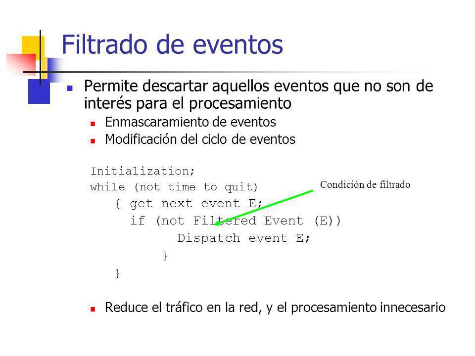 Filtrado de eventos Permite descartar aquellos eventos que no son de interés para el procesamiento Enmascaramiento de eventos Modificación del ciclo d