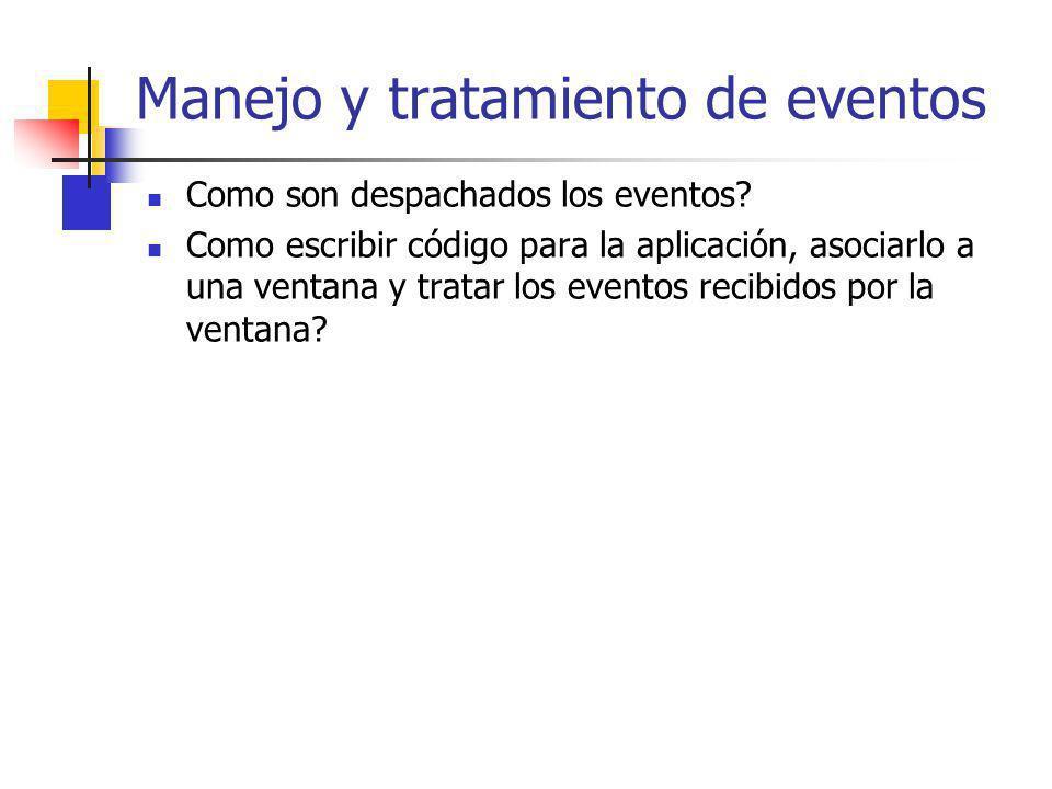 Manejo y tratamiento de eventos Como son despachados los eventos? Como escribir código para la aplicación, asociarlo a una ventana y tratar los evento