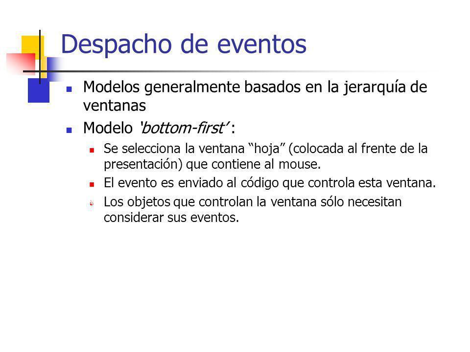 Despacho de eventos Modelos generalmente basados en la jerarquía de ventanas Modelo bottom-first : Se selecciona la ventana hoja (colocada al frente d